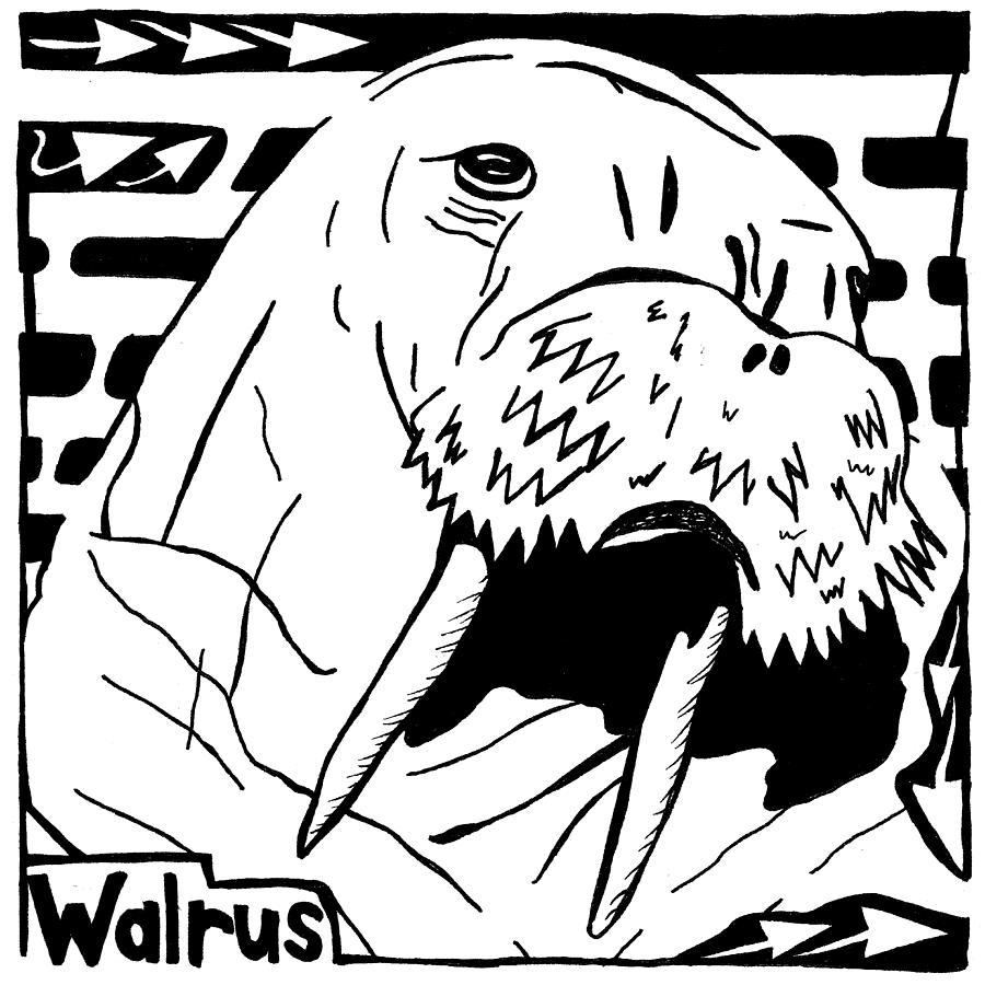 Walrus Drawing - Walrus Maze by Yonatan Frimer Maze Artist