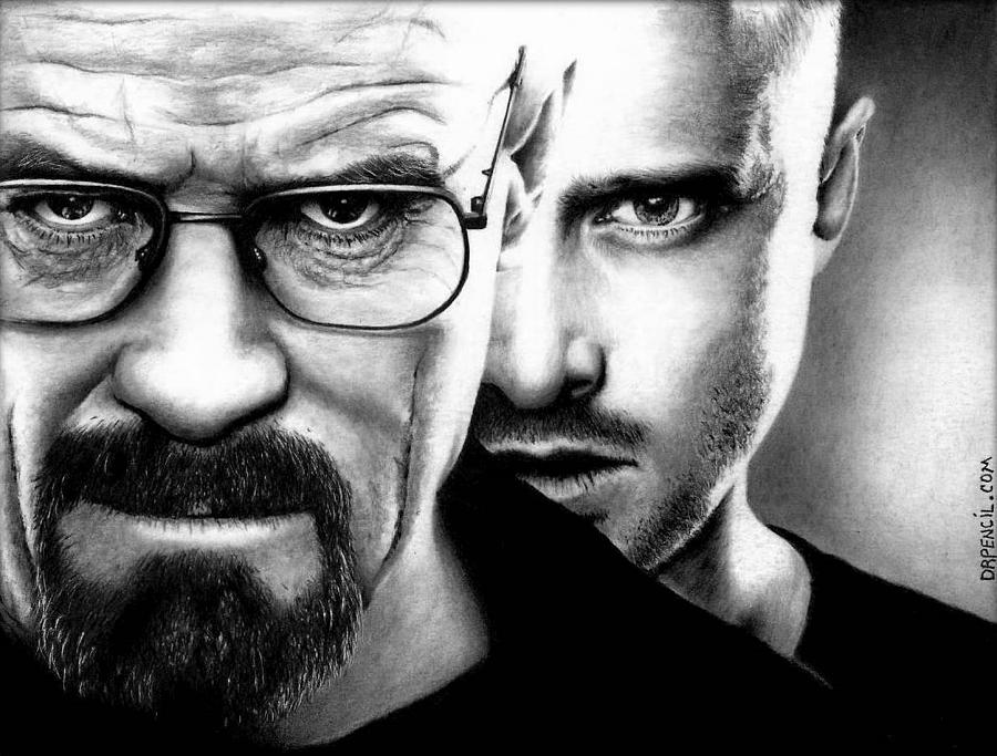 Breaking Bad Drawing - Walt And Jesse by Rick Fortson