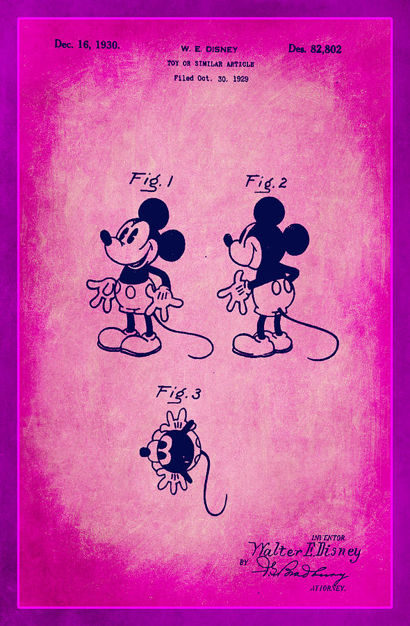 Patent Mixed Media - Walt Disney Mickey Mouse Toy Patent 2g by Brian Reaves