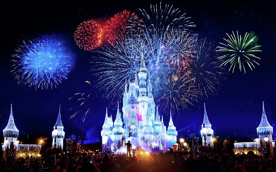 Magic Kingdom Photograph - Walt Disney World Fireworks  by Mark Andrew Thomas