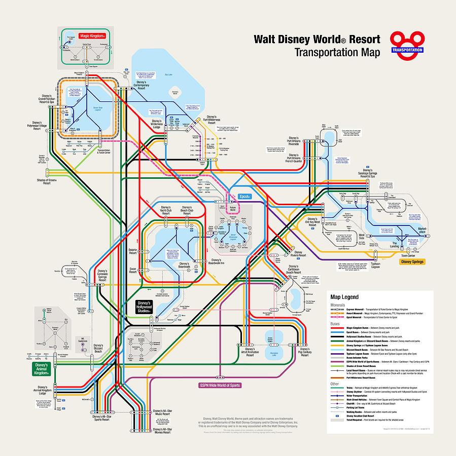 Walt Disney World Resort Transportation Map Digital Art by Arthur De ...