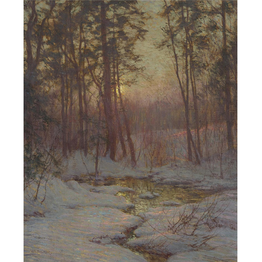 Nature Painting - Walter Launt Palmer 1854-1932 WINTER STREAM AT SUNSET by Walter Launt Palmer
