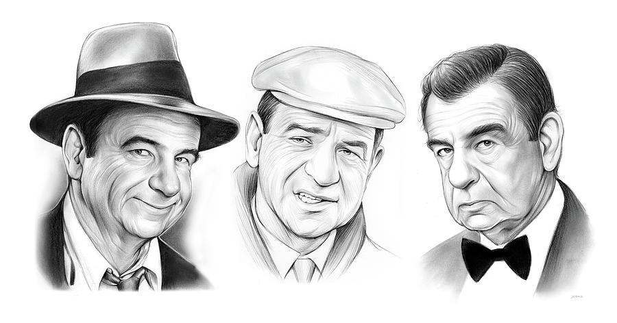 Walter Matthau Trio Drawing