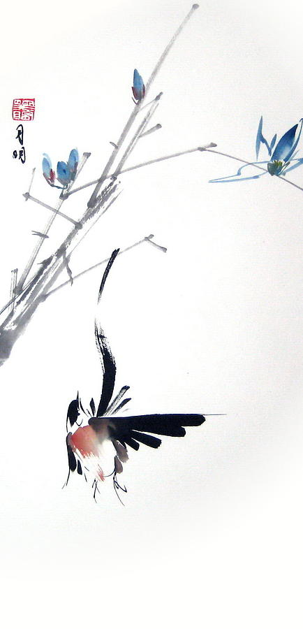 Bird Painting - Waltzing At Dawn by Ming Yeung