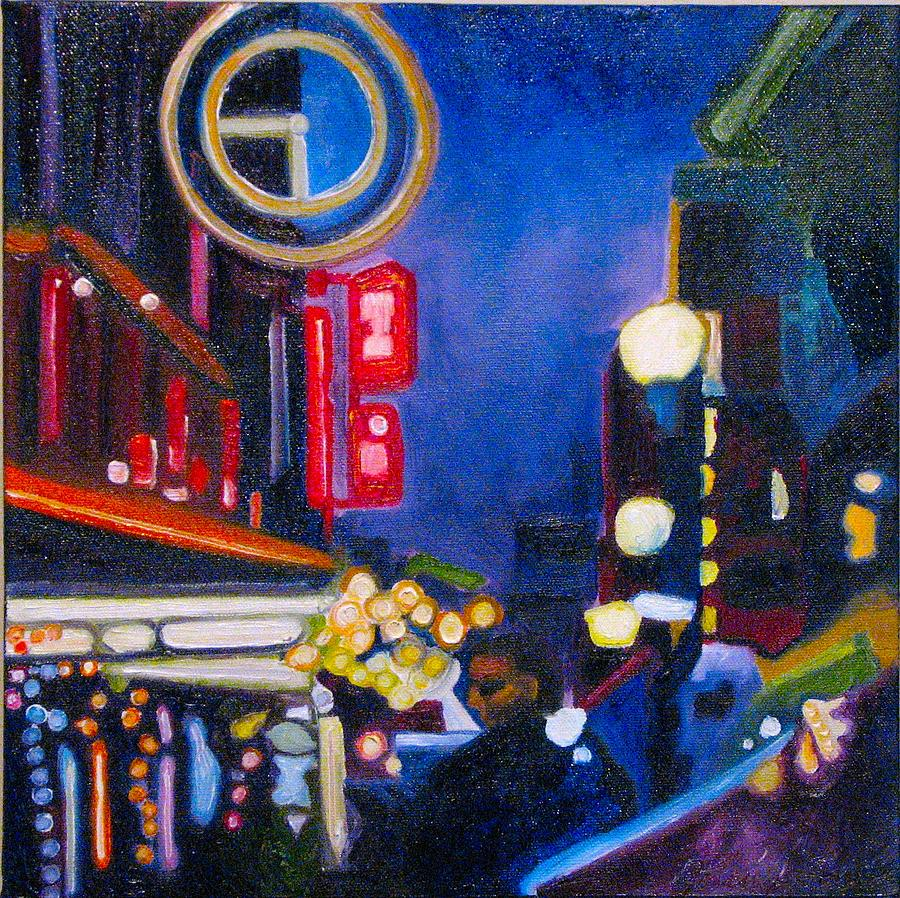 Night Scene Painting - Wandering At Dusk by Patricia Arroyo