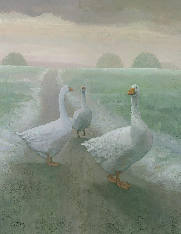 Geese Painting - Wandering Geese by Steve Mitchell