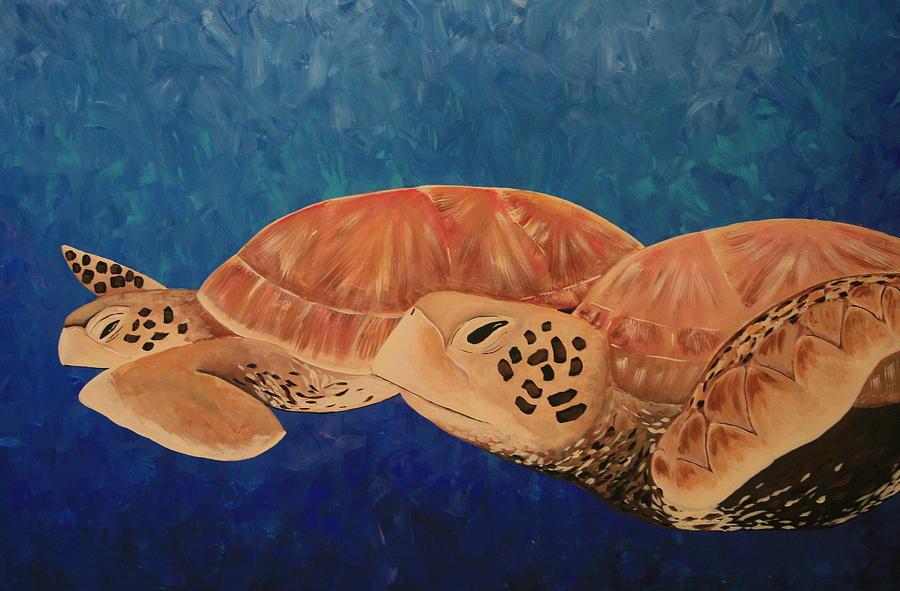 Green Sea Turtle Painting - Wandering by Nick Flavin