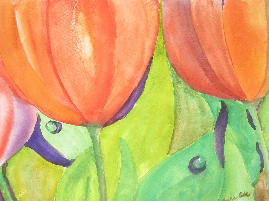 Tulips Painting - Wanderings by Trilby Cole