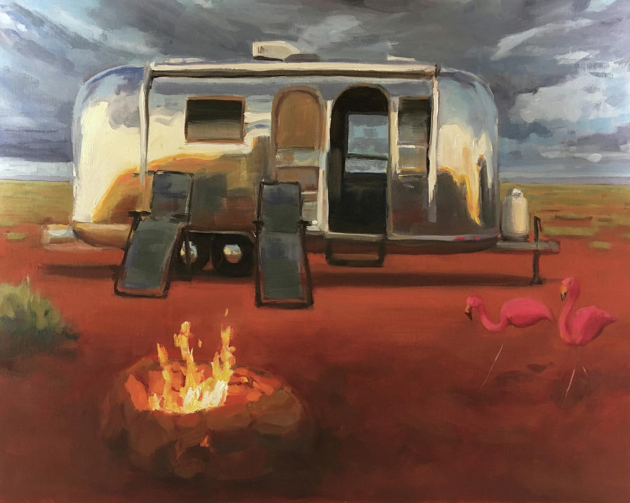 Airstream Painting - Wanderlust by Elizabeth Jose