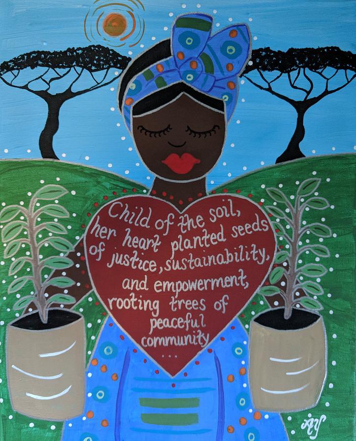 Holy Painting - Wangari Maathai by Angela Yarber