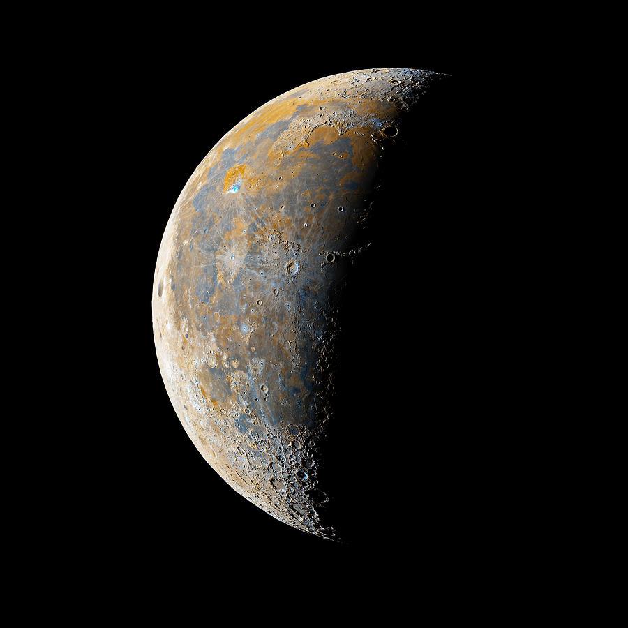 Moon Photograph - Waning Crescent Moon / Day 23 by Bartosz Wojczynski