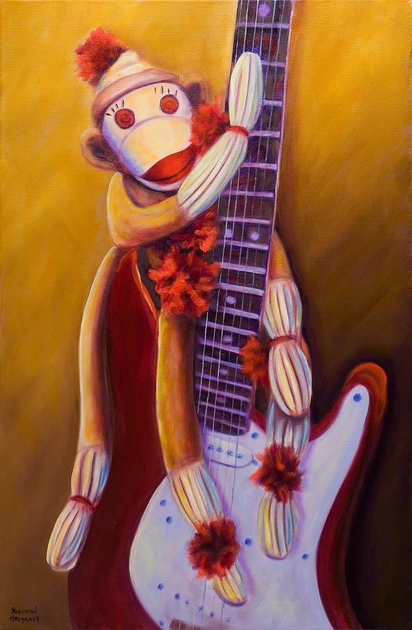 Monkey Painting - Wanna Be A Rocker by Shannon Grissom