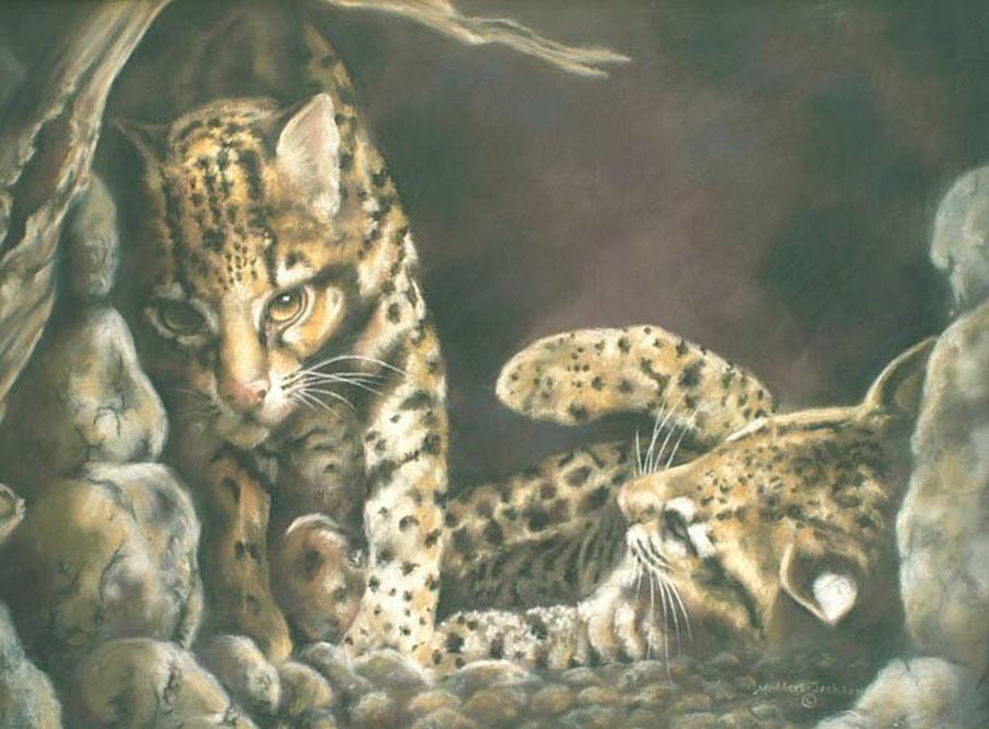Ocelot Painting - Wanna Play by Linda  Medders-Jackson