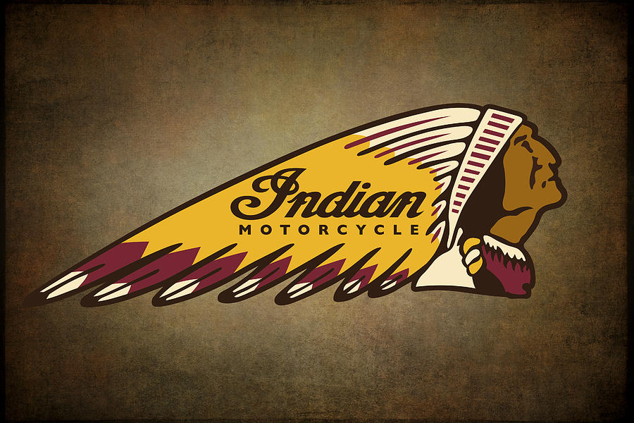 war bonnet indian motorcycle vintage logo digital art by
