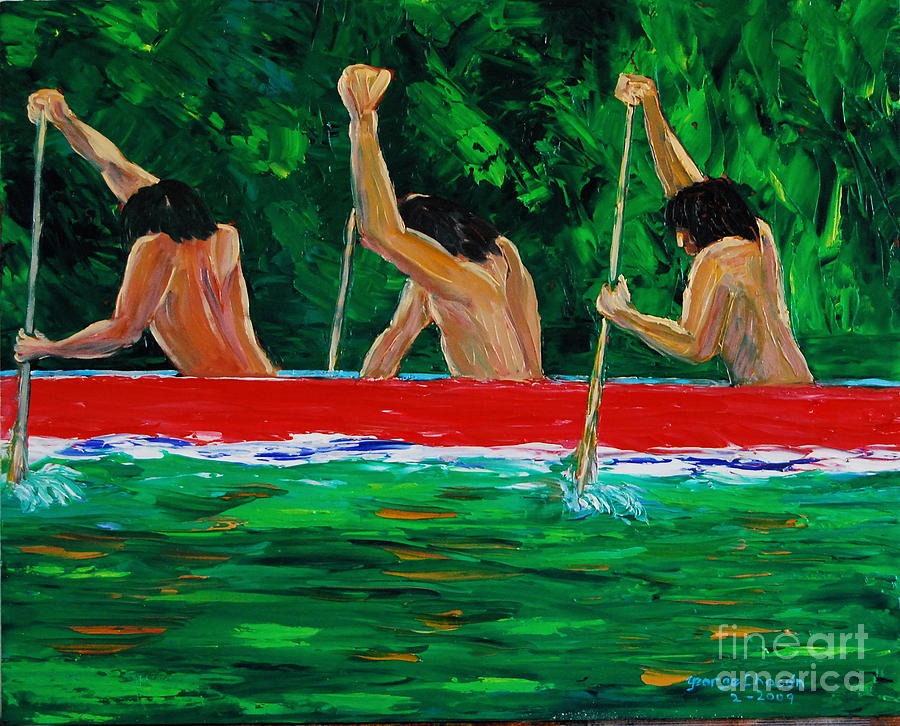Landscapes With Water Painting - war canoe races 1977 Nooksack tribe Wa  by George Chacon