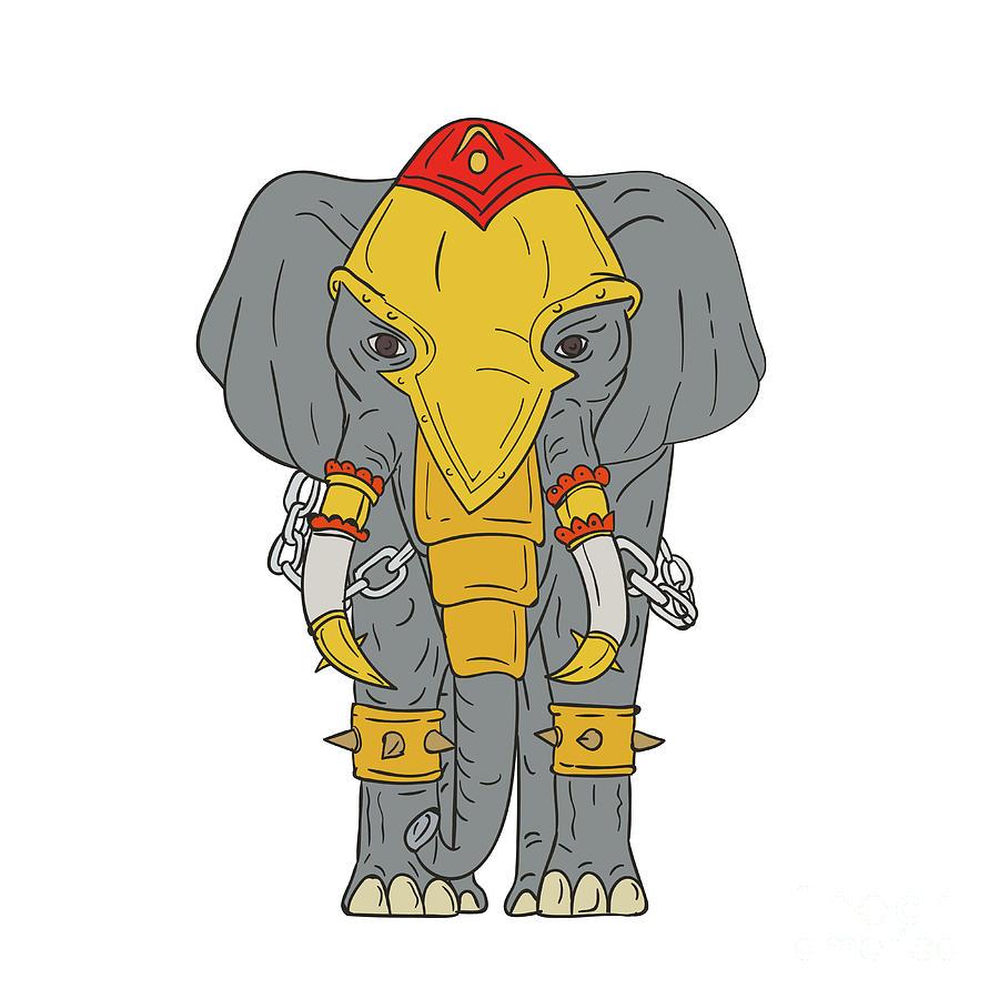 War Elephant Drawing Digital Art by Aloysius Patrimonio