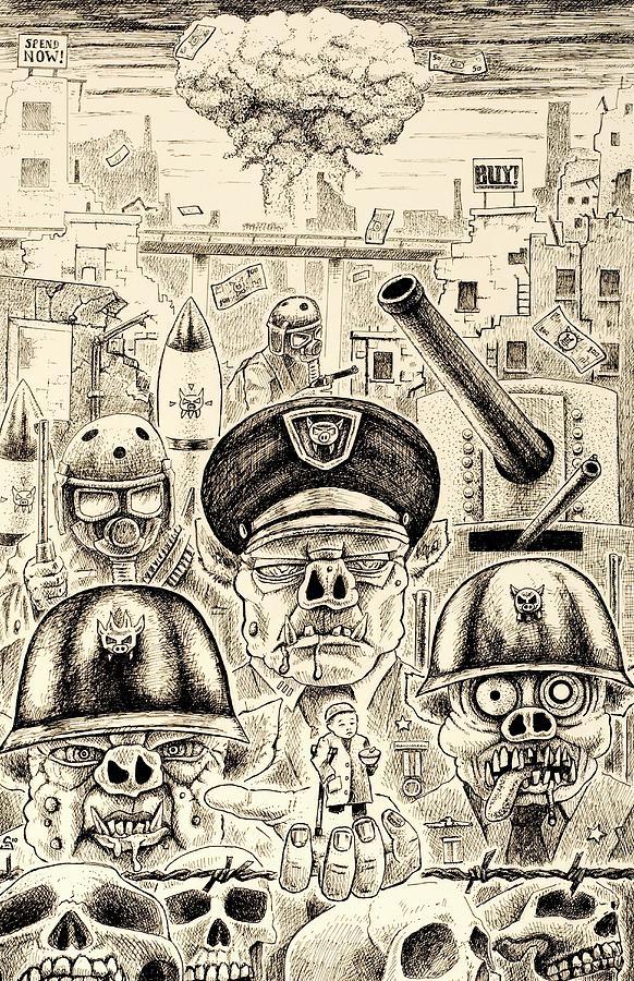 War Drawing - War Pigs by Sean Madden