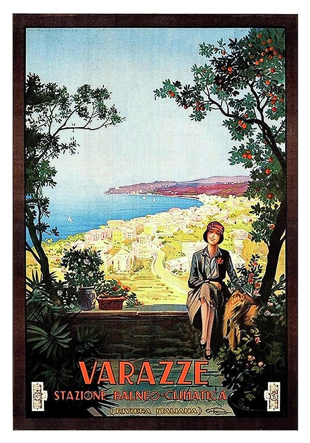 Savona Painting - Warazze, Savona, Italy, Woman On Hotel Terrace by Long Shot