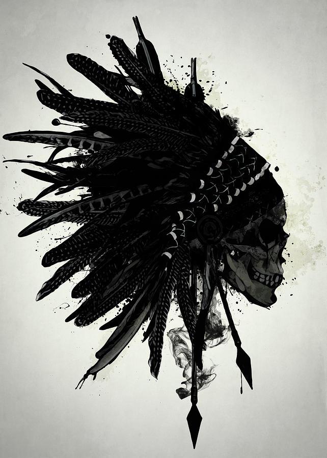 Indian Digital Art - Warbonnet Skull by Nicklas Gustafsson