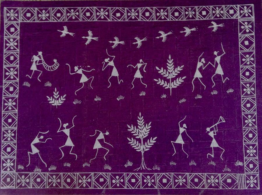 Village Painting - Warli Life by Meena Patankar