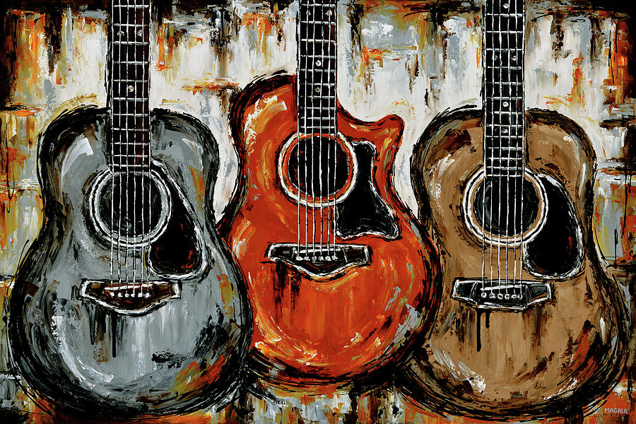 Acoustic Guitar Painting - Warm acoustic vibes. by Magda Magier