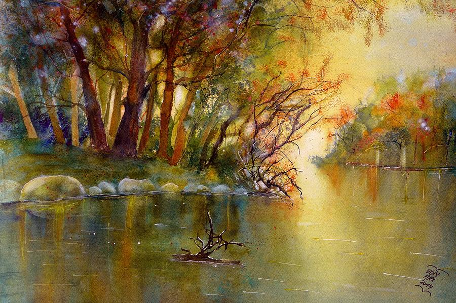 Warm autumn light over the river Rhein by Sabina Von Arx