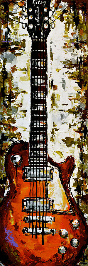 Guitar Painting - Warm green vibes. by Magda Magier