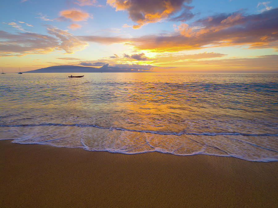 Sunset Photograph - Warm Kaanapali Sunset by Christopher Johnson