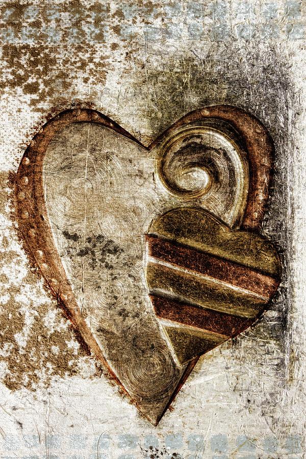 Heart Photograph - Warm Love Metal Heart by Carol Leigh