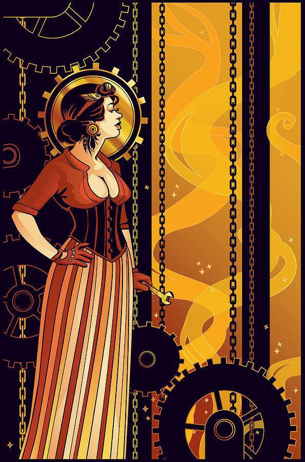 Art Nouveau Digital Art - Warm Machinery by Dani Kaulakis