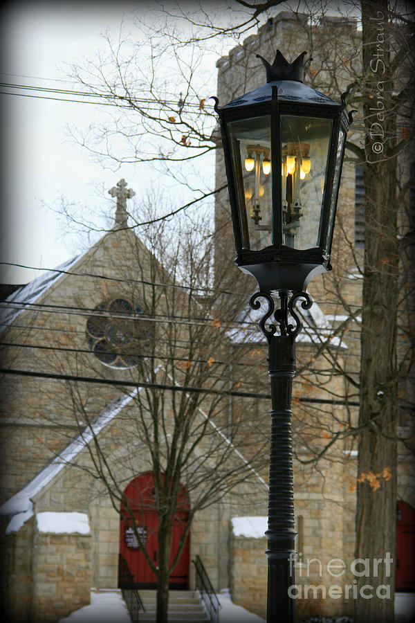 Lamppost Photograph - Warm Winters Light by Debra Straub