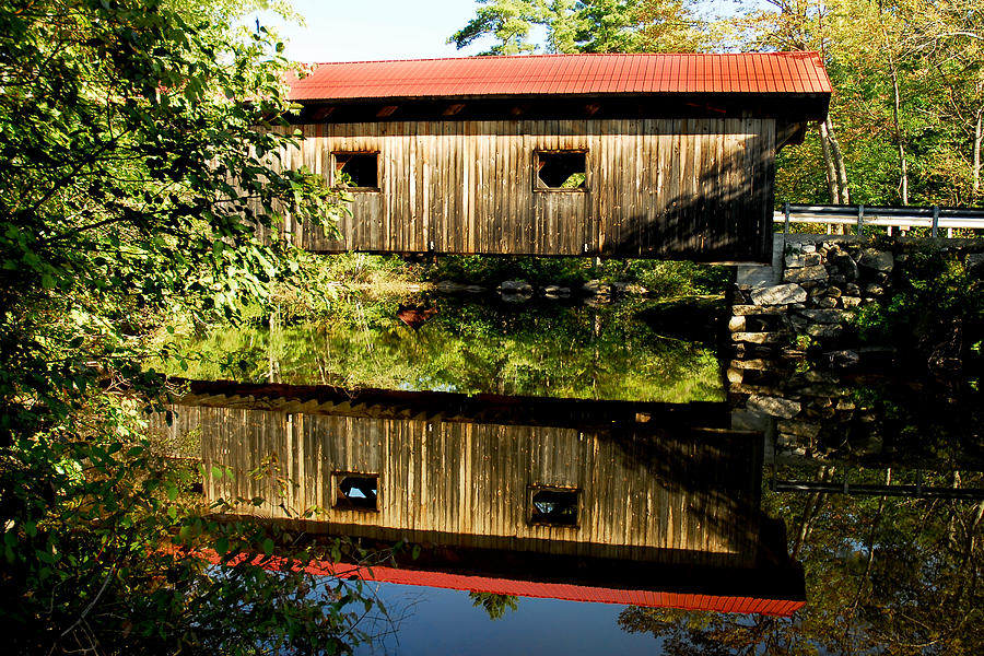 Covered Bridge Photograph - Warner Covered Bridge by Greg Fortier