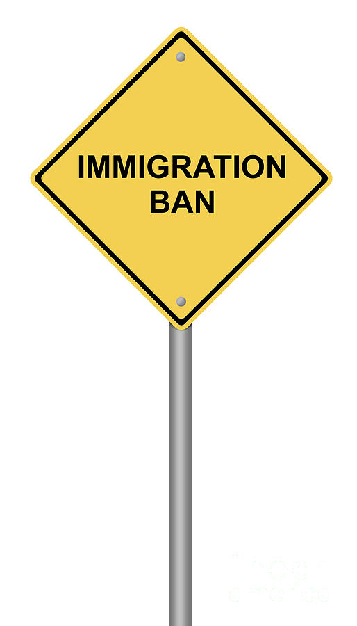Warning Sign Immigration Ban by Henrik Lehnerer