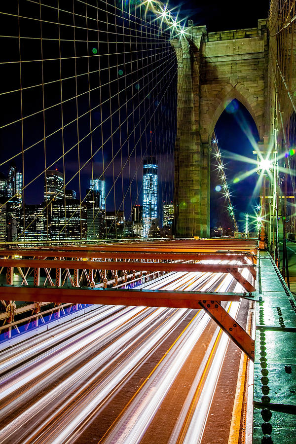 Brooklyn Bridge Photograph - Warp Speed Out Of Manhattan by Az Jackson