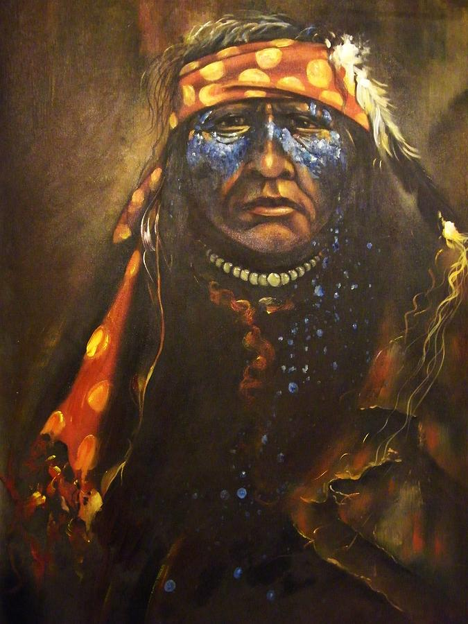 Native Warrior Painting - Warpaint Ends In Tears by Anthony Dreamrider