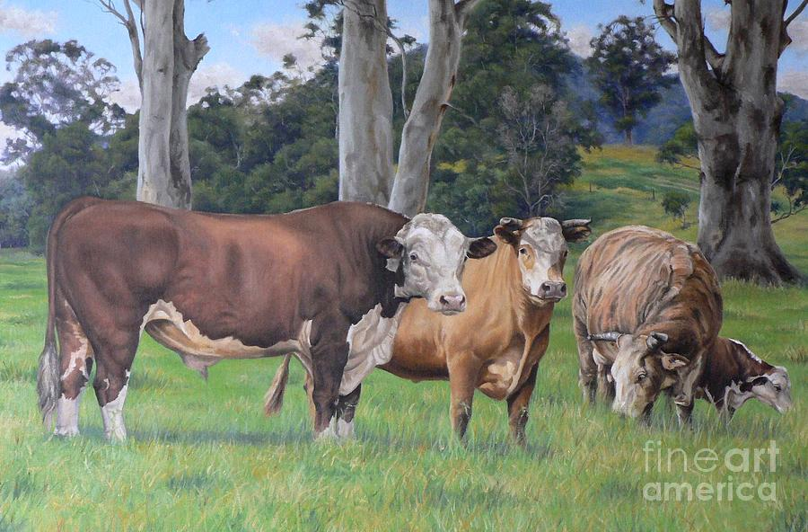 Farm Painting - Warrawillah Cattle by Louise Green