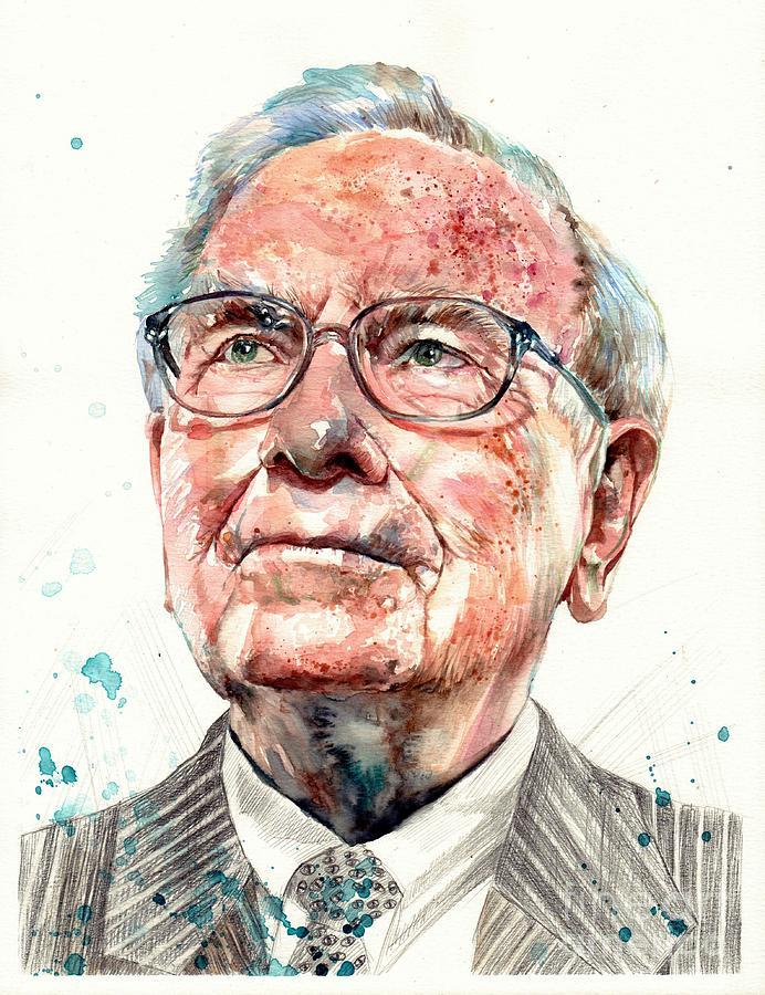 Warren Painting - Warren Buffett portrait by Suzann Sines