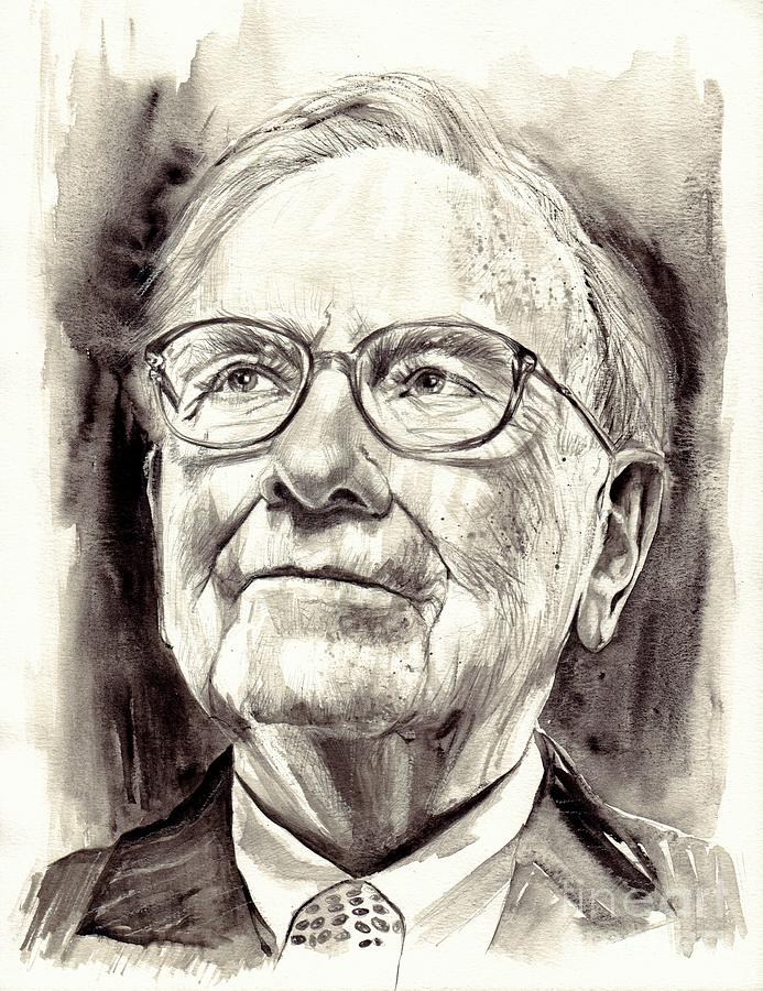 Warren Painting - Warren Buffett Watercolor by Suzann Sines