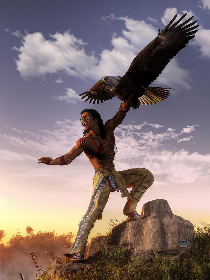 Warrior Digital Art - Warrior And Eagle by Daniel Eskridge