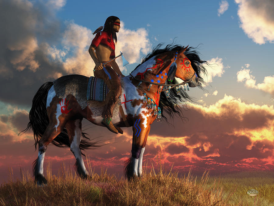 Warrior and war horse digital art by daniel eskridge Fine art america