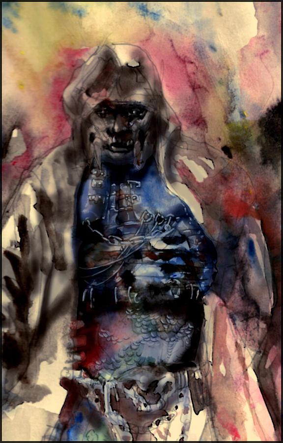 Aquarel Painting - Warrior Aquarell Tachnique by Pabdi Robert