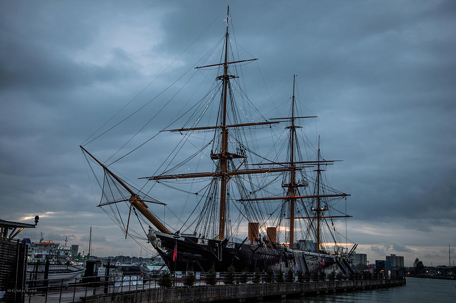 Hms Photograph - Warrior At Christmas by Ross Henton