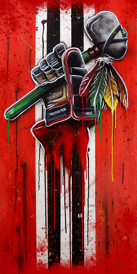 Blackhawks Painting - Warrior Glove On Red by Michael T Figueroa
