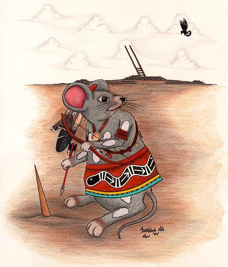 Warrior Mouse Kachina Mixed Media by Alfred Dawahoya