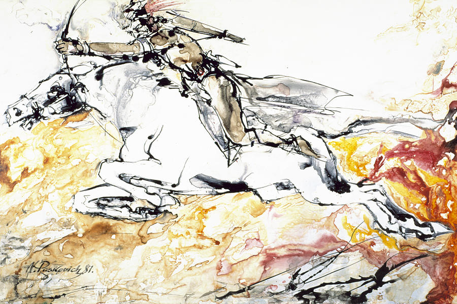 Native American Painting - Warrior On White Horse by Nicolay Paskevich