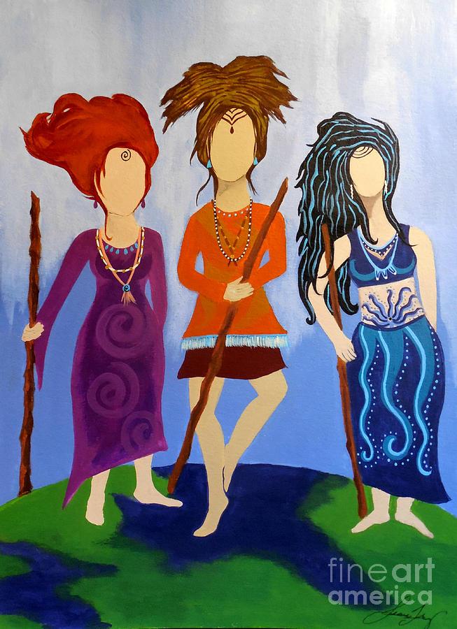 Warrior Woman Painting - Warrior Woman Sisterhood by Jean Fry