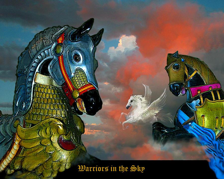 Horses Digital Art - Warriors in the sky by Bette Gray