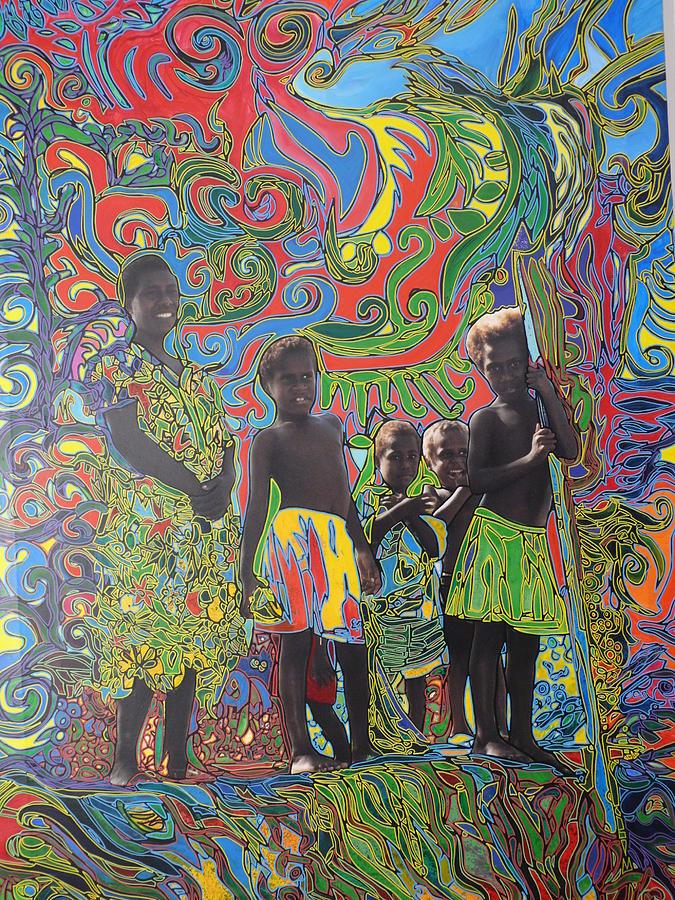 Vanuatu Painting - Warriors Kids In Vanuatu by Igor Eugen Prokop