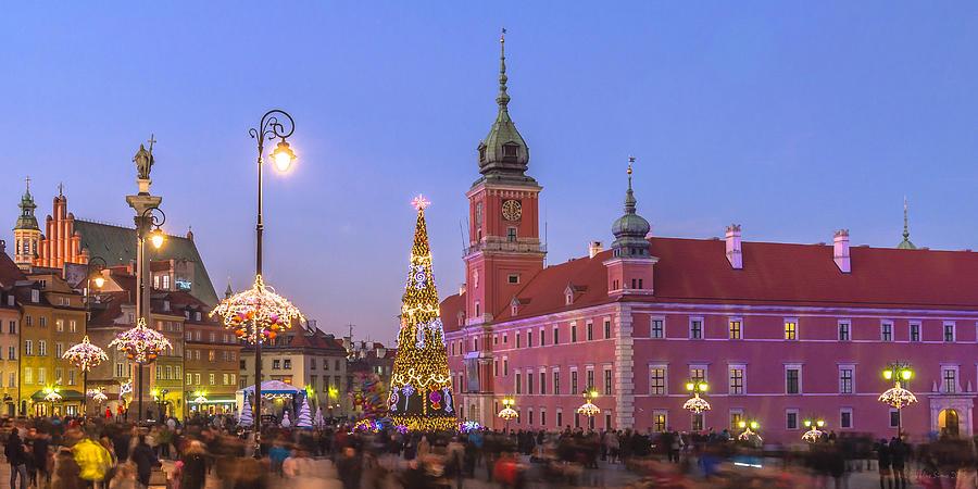 Warsaw Royal Castle Lighted For Christmas Photograph
