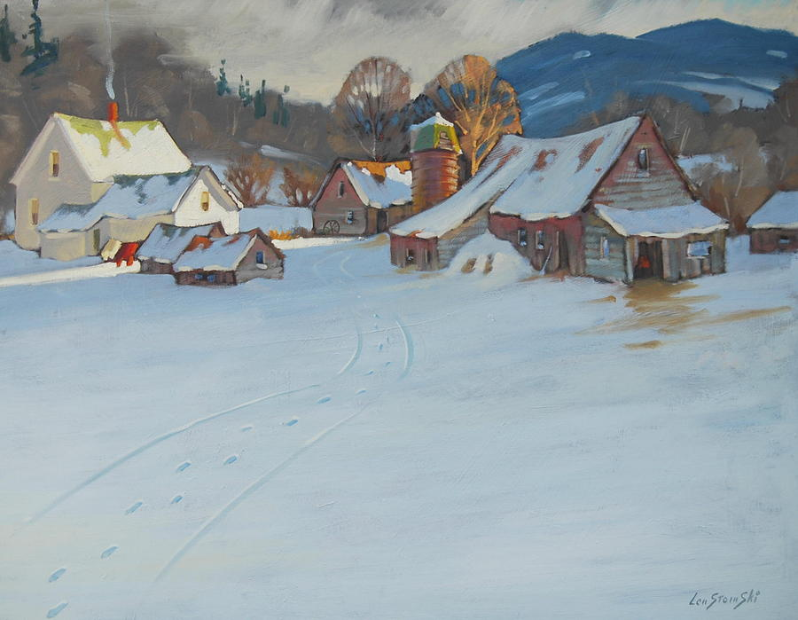 Winter Painting - Wash Day by Len Stomski